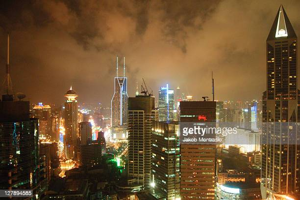 puxi at night in shanghai - jakob montrasio stock pictures, royalty-free photos & images