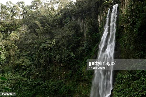 puxtla's waterfall over eighty metres high in tlatlauquitepec - mexico - siete stock pictures, royalty-free photos & images