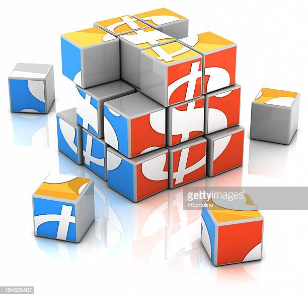 puzzle cubes - rebuilding the dollar - credit score stock pictures, royalty-free photos & images