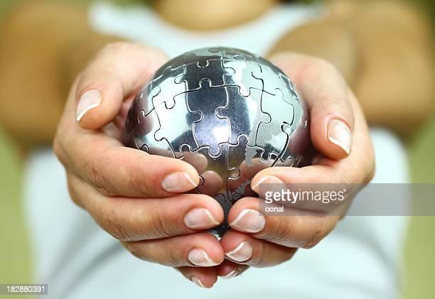 Puzzle globe dans palm
