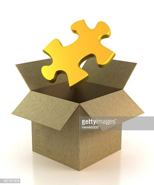 Puzzle piece in cardboard box - isolated with Clipping Path