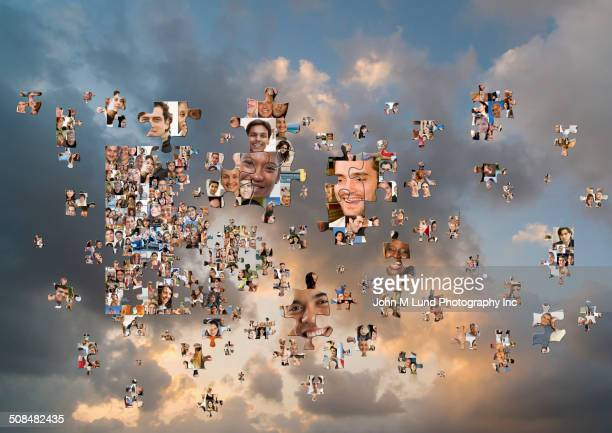 Puzzle pieces with smiling faces floating in cloudy sky