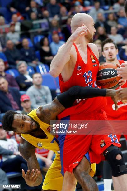 Pvel Korobkov of CSKA Moscow vies with DeAndre Kane of Maccabi Fox during the Turkish Airlines Euroleague match between CSKA Moscow and Maccabi Fox...