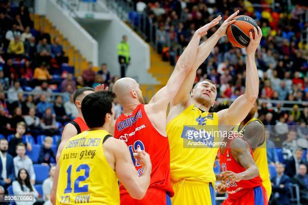 Pvel Korobkov of CSKA Moscow vies with Jonah Bolden of Maccabi Fox during the Turkish Airlines Euroleague match between CSKA Moscow and Maccabi Fox...