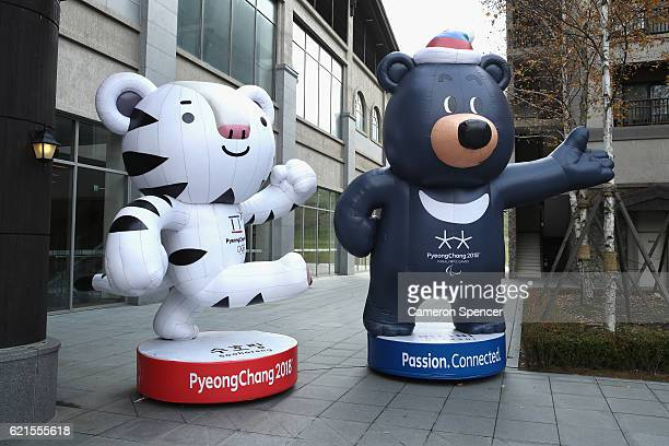 PyeongChang 2018 mascots are on display as construction continues ahead of the 2018 Winter Olympics on November 7 2016 in Pyeongchang South Korea