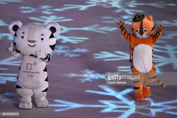 PyeongChang 2018 mascots dance during the Closing Ceremony of the PyeongChang 2018 Winter Olympic Games at PyeongChang Olympic Stadium on February...
