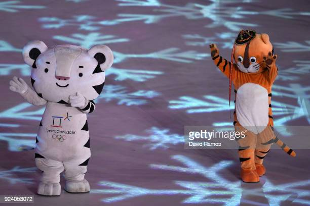 PyeongChang 2018 mascots dance during the Closing Ceremony of the PyeongChang 2018 Winter Olympic Games at PyeongChang Olympic Stadium on February 25...