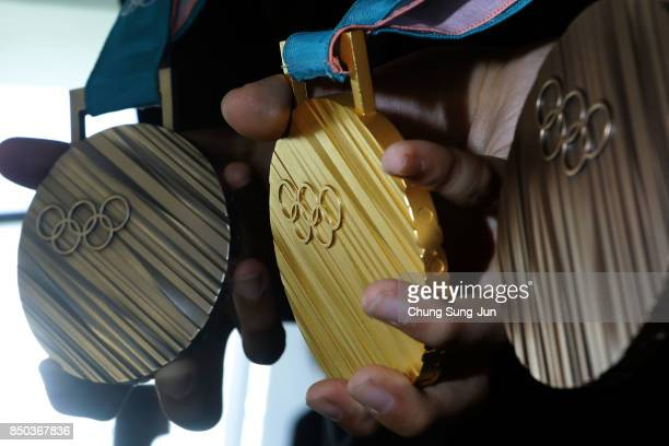 PyeongChang 2018 Olympic Games medals are unveiled at the Seoul Dongdaemun Design Plaza on September 21, 2017 in Seoul, South Korea.