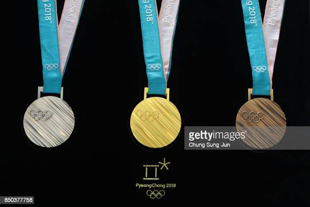 PyeongChang 2018 Olympic Games medals are unveiled at the Seoul Dongdaemun Design Plaza on September 21 2017 in Seoul South Korea