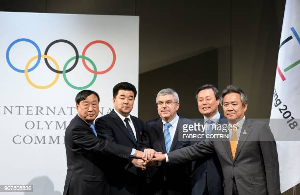 PyeongChang 2018 Olympics President Lee Heebeom North Korea's Sports Minister and Olympic Committee president Kim Il Guk South Korean Minister of...