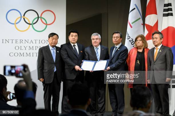 PyeongChang 2018 Olympics President Lee Heebeom North Korea's Sports Minister and Olympic Committee president Kim Il Guk International Olympic...