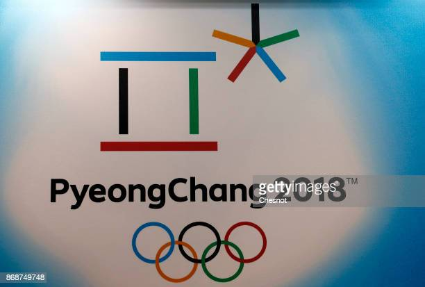 PyeongChang 2018 Winter Olympic Games logo is displayed during the 'Paris Games Week' on October 31 2017 in Paris France 'Paris Games Week' is an...
