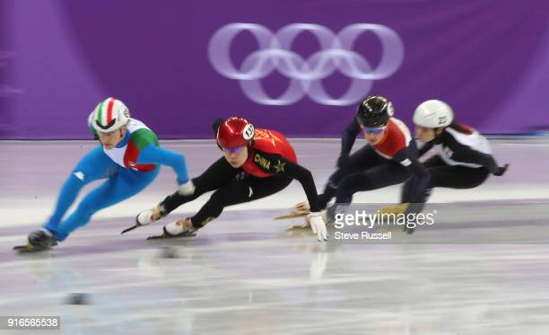 GANGNEUNG Pyeongchang FEBRUARY 10 Heat 2 of the women's 3000 metre relay round the corner in the short track speed skating in PyeongChang 2018 Winter...