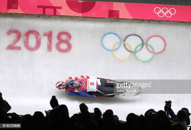 ALPENSIA Pyeongchang FEBRUARY 14 Matthew Mortensen and Jayson Terdiman of the United States during the men's luge doubles final at the 2018...
