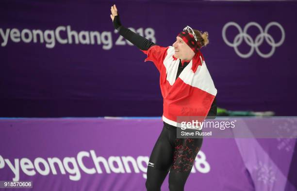 Pyeongchang- FEBRUARY 15 - Ted-Jan Bloemen of Canada takes a victory lap after winning the gold medal in Olympic record time in the men's 10000...