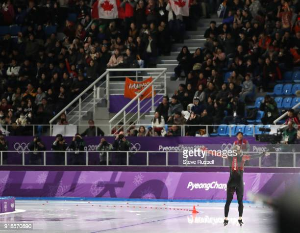 Pyeongchang- FEBRUARY 15 - Ted-Jan Bloemen of Canada wins the gold medal in Olympic record time in the men's 10000 metres in the PyeongChang 2018...