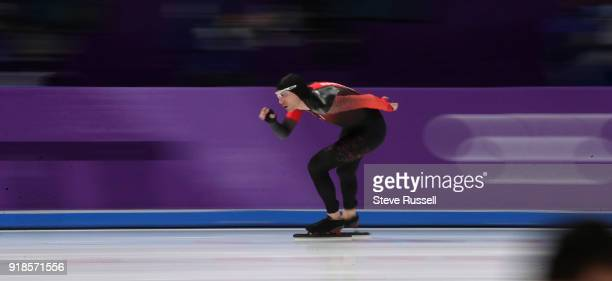 GANGNEUNG Pyeongchang FEBRUARY 15 TedJan Bloemen of Canada wins the gold medal in Olympic record time in the men's 10000 metres in the PyeongChang...