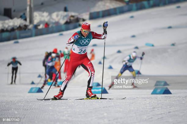 BOKWANG Pyeongchang FEBRUARY 16 Devon Kershaw of Canada climbs a hill in the men's 15 km free cross country skiing at the Alpensia CrossCountry...