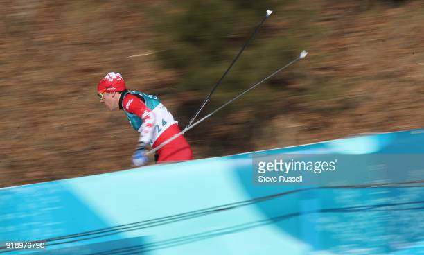 BOKWANG Pyeongchang FEBRUARY 16 Devon Kershaw of Canada speeds down a hill in the men's 15 km free cross country skiing at the Alpensia CrossCountry...