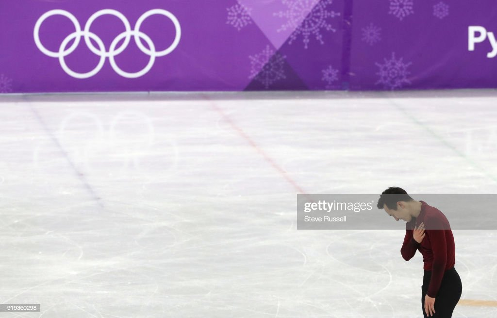 GANGNEUNG, Pyeongchang- FEBRUARY 17 - Patrick Chan of Canada bows to the crowd in the men's free figure skating in the PyeongChang 2018 Winter Olympics at the Gangneung Ice Arena in Gangneung in Pyeongchang in South Korea. February 17, 2018.