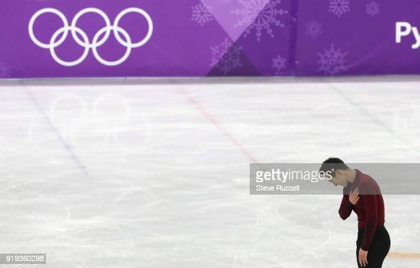 GANGNEUNG Pyeongchang FEBRUARY 17 Patrick Chan of Canada bows to the crowd in the men's free figure skating in the PyeongChang 2018 Winter Olympics...