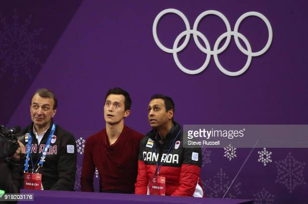 GANGNEUNG Pyeongchang FEBRUARY 17 Patrick Chan of Canada looks at his score in the mens free figure skating program in the PyeongChang 2018 Winter...