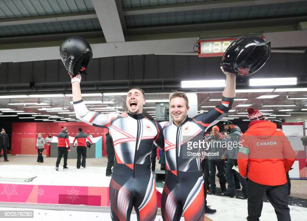 ALPENSIA Pyeongchang FEBRUARY 19 Justin Kripps and Alexander Kopacz of Canada tie for the Gold Medal with a German Sled in the twoman bobsleigh at...