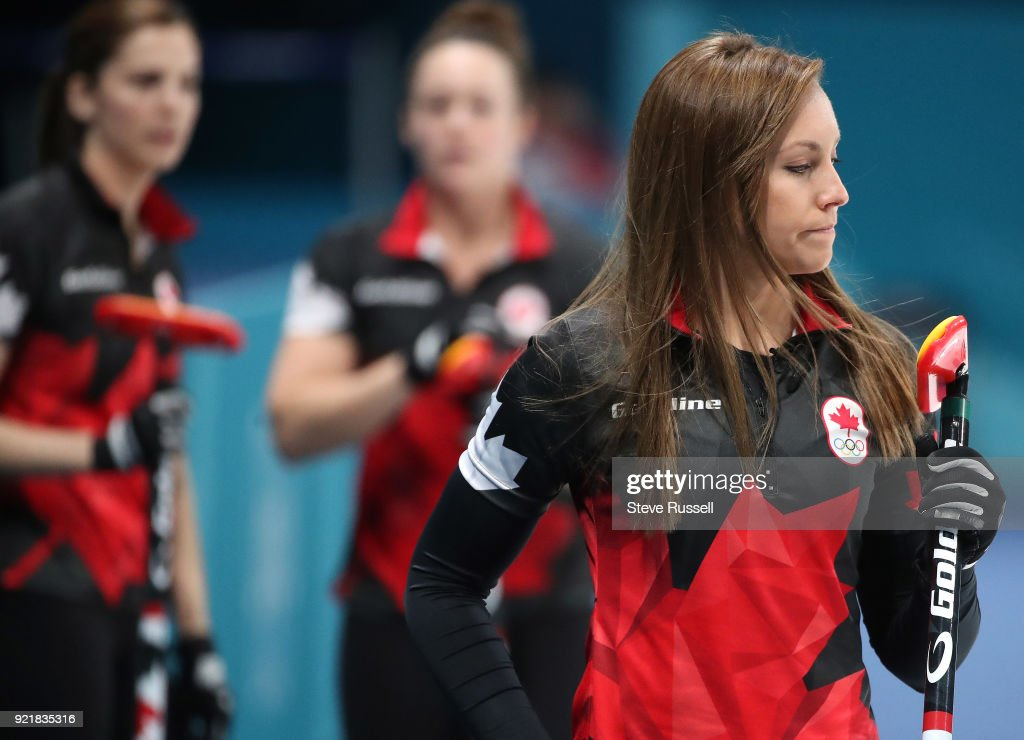 GANGNEUNG, Pyeongchang- FEBRUARY 20 - Canada's skip Rachel Homan as Canadian women's curling team plays Great Britain at the Gangneung Curling Centre at the 2018 Pyeongchang Winter Olympics in Gangneung in Pyeongchang in South Korea. February 20, 2018.