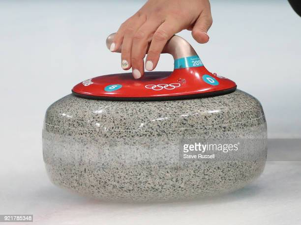 GANGNEUNG Pyeongchang FEBRUARY 20 Canada's skip Rachel Homan prepares to throw a stone as Canadian women's curling team plays Great Britain at the...