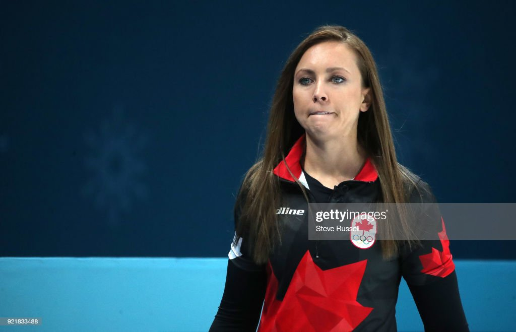 GANGNEUNG, Pyeongchang- FEBRUARY 20 - Canada's skip Rachel Homan throws a stone as Canadian women's curling team plays Great Britain at the Gangneung Curling Centre at the 2018 Pyeongchang Winter Olympics in Gangneung in Pyeongchang in South Korea. February 20, 2018.