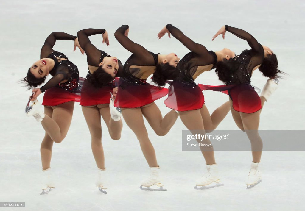 GANGNEUNG, Pyeongchang- FEBRUARY 20 - Multiple exposure of Gabrielle Daleman of Canada in the ladies' short program in PyeongChang 2018 Winter Olympics Figure Skating at the Gangneung Ice Arena at the 2018 Pyeongchang Winter Olympics in Gangneung in Pyeongchang in South Korea. February 20, 2018.