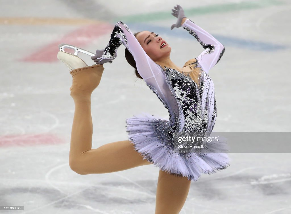 GANGNEUNG, Pyeongchang- FEBRUARY 21 - Alina Zagitova an Olympic Athlete From Russia leads after the ladies' short program in PyeongChang 2018 Winter Olympics Figure Skating at the Gangneung Ice Arena at the 2018 Pyeongchang Winter Olympics in Gangneung in Pyeongchang in South Korea. February 21, 2018.