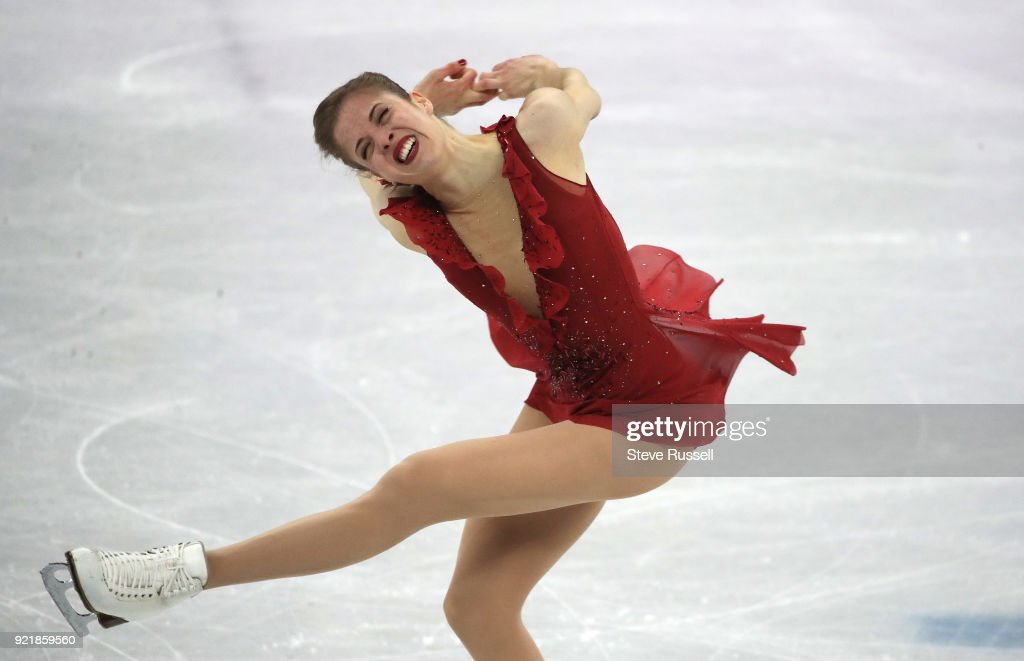 GANGNEUNG, Pyeongchang- FEBRUARY 21 - Carolina Kostner of Italy finished sixth in the ladies' short program in PyeongChang 2018 Winter Olympics Figure Skating at the Gangneung Ice Arena at the 2018 Pyeongchang Winter Olympics in Gangneung in Pyeongchang in South Korea. February 21, 2018.