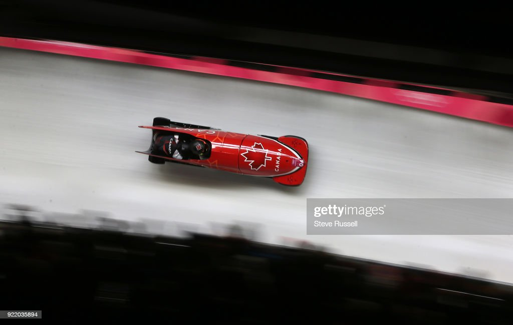 ALPENSIA, Pyeongchang- FEBRUARY 21 - Kaillie Humphries and Phylicia George of Canada race through Olympic Turn in the two-man bobsleigh women at the 2018 Pyeongchang Winter Olympics Olympic Sliding Centre in Alpensia in Pyeongchang in South Korea. February 21, 2018.