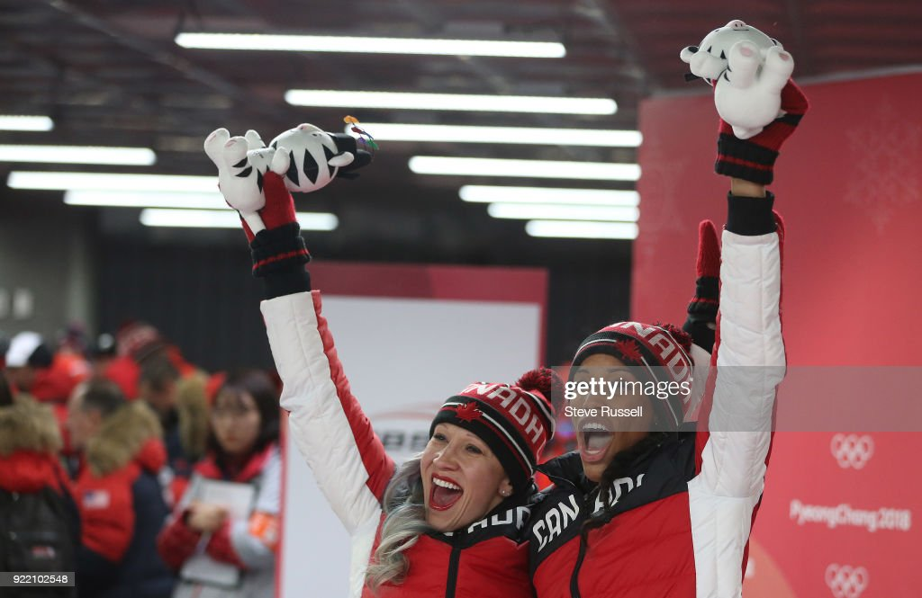 ALPENSIA, Pyeongchang- FEBRUARY 21 - Kaillie Humphries and Phylicia George of Canada win bronze in the two-man bobsleigh women at the 2018 Pyeongchang Winter Olympics Olympic Sliding Centre in Alpensia in Pyeongchang in South Korea. February 21, 2018.