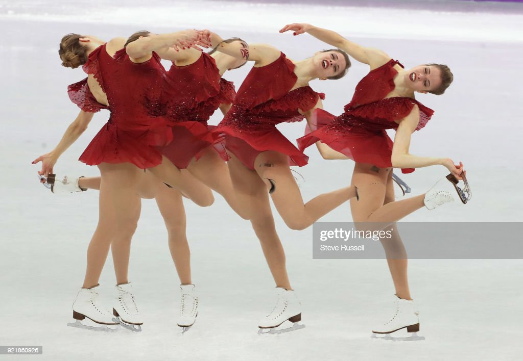 GANGNEUNG, Pyeongchang- FEBRUARY 21 - Multiple exposure of Carolina Kostner of Italy finished sixth in the ladies' short program in PyeongChang 2018 Winter Olympics Figure Skating at the Gangneung Ice Arena at the 2018 Pyeongchang Winter Olympics in Gangneung in Pyeongchang in South Korea. February 21, 2018.