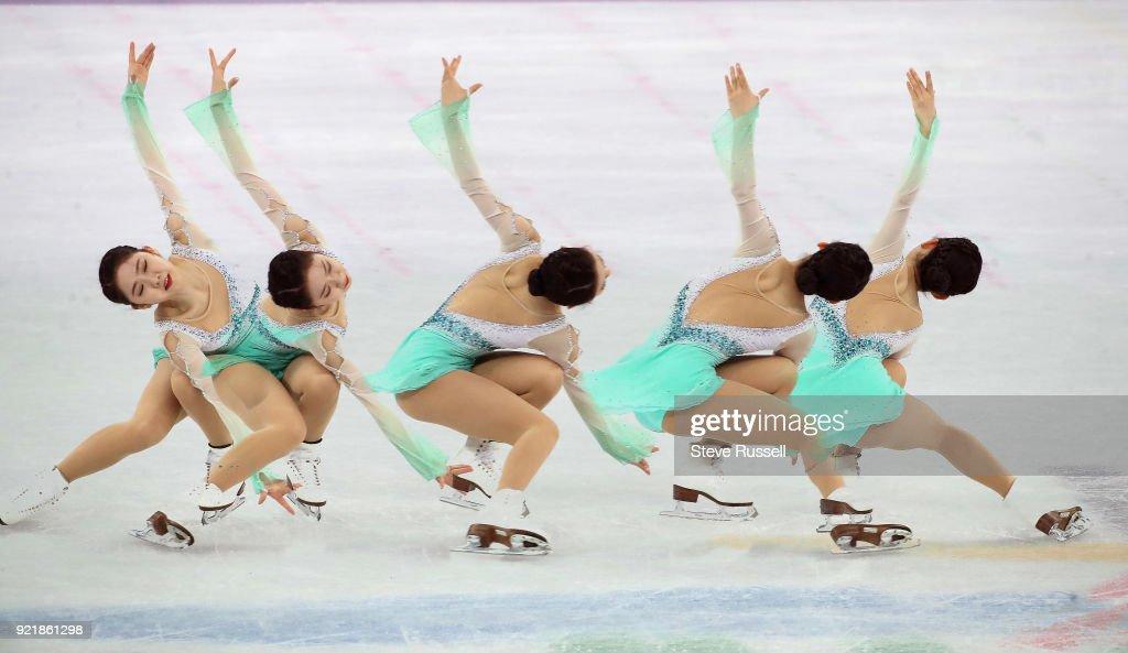 GANGNEUNG, Pyeongchang- FEBRUARY 21 - Multiple exposure of Dabin Choi of Korea in the ladies' short program in PyeongChang 2018 Winter Olympics Figure Skating at the Gangneung Ice Arena at the 2018 Pyeongchang Winter Olympics in Gangneung in Pyeongchang in South Korea. February 21, 2018.