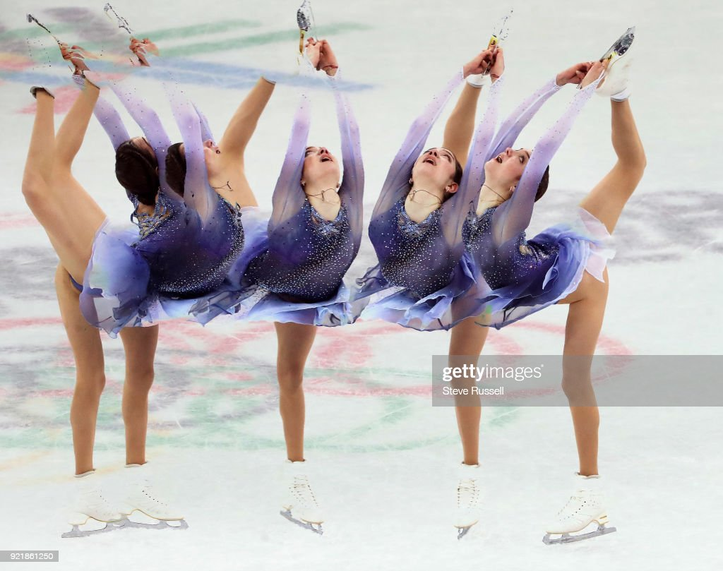 GANGNEUNG, Pyeongchang- FEBRUARY 21 - Multiple exposure of Evgenia Medvedev an Olympic Athlete From Russia sits second in the ladies' short program in PyeongChang 2018 Winter Olympics Figure Skating at the Gangneung Ice Arena at the 2018 Pyeongchang Winter Olympics in Gangneung in Pyeongchang in South Korea. February 21, 2018.