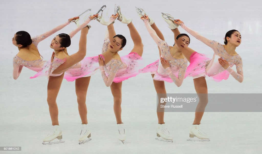 GANGNEUNG, Pyeongchang- FEBRUARY 21 - Multiple exposure of Satoko Miyahara of Japan who sits fourth in the in the ladies' short program in PyeongChang 2018 Winter Olympics Figure Skating at the Gangneung Ice Arena at the 2018 Pyeongchang Winter Olympics in Gangneung in Pyeongchang in South Korea. February 21, 2018.