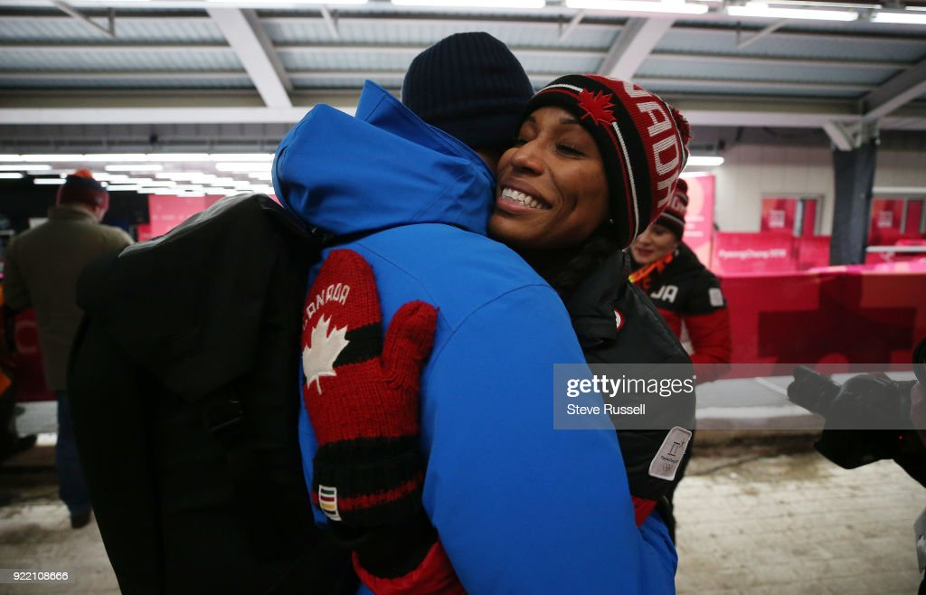 ALPENSIA, Pyeongchang- FEBRUARY 21 - Phylicia George of Canada hugs her partner Anson Henry after she and Kaillie Humphries win bronze in the two-man bobsleigh women at the 2018 Pyeongchang Winter Olympics Olympic Sliding Centre in Alpensia in Pyeongchang in South Korea. February 21, 2018.