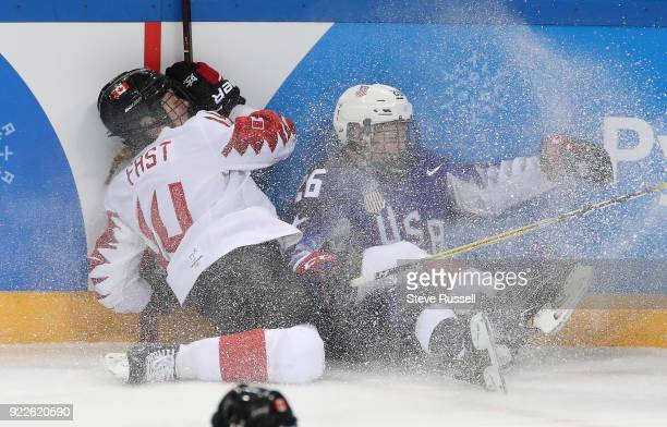 GANGNEUNG Pyeongchang FEBRUARY 22 Canada defenseman Renata Fast and United States forward Kendall Coyne collide as Canada plays United States in the...