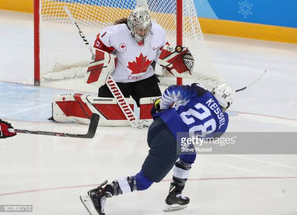 GANGNEUNG Pyeongchang FEBRUARY 22 Canada goaltender Shannon Szabados stops United States forward Amanda Kessel from point blank range as Canada loses...