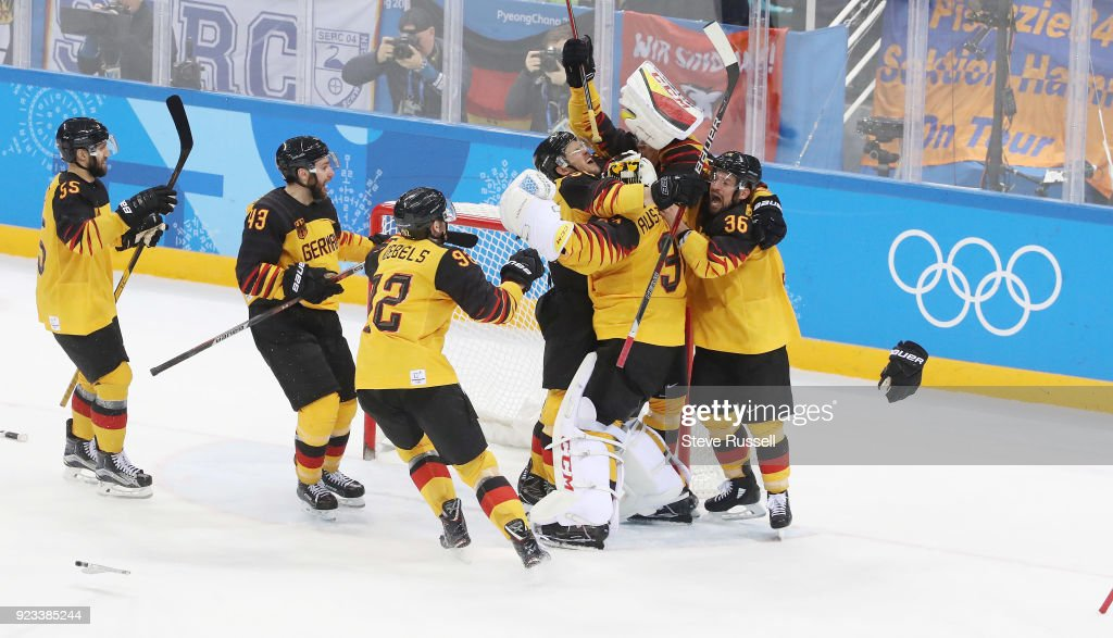 Germany upsets Canada 4-3 in the men's semifinal  in the Olympic hockey tournament : News Photo