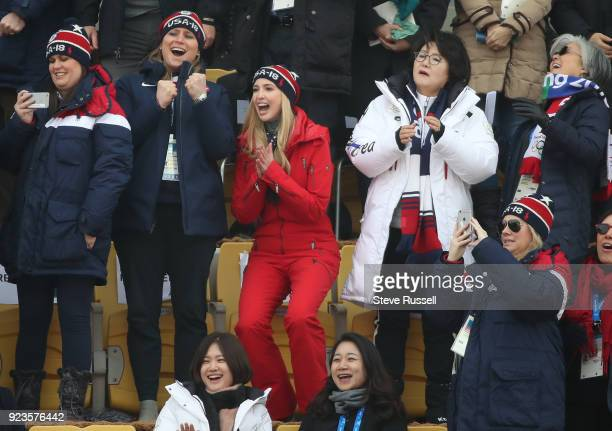 ALPENSIA Pyeongchang FEBRUARY 23 Ivanka Trump reacts to a jump by American Snowboarder Chris Corning at Men's Big Air competition at the Alpensia Ski...