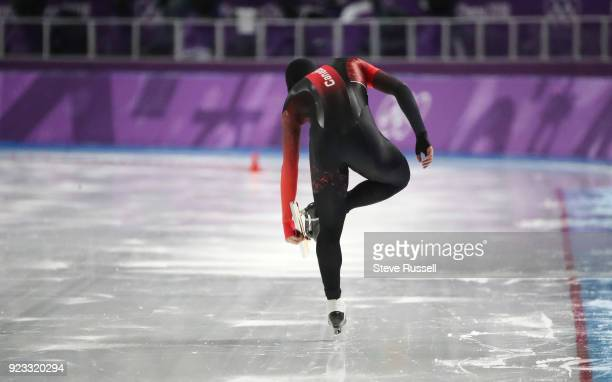 GANGNEUNG Pyeongchang FEBRUARY 23 Vincent de Haitre of Canada in the men's 1000 metres in the PyeongChang 2018 Winter Olympics at the Gangneung Oval...