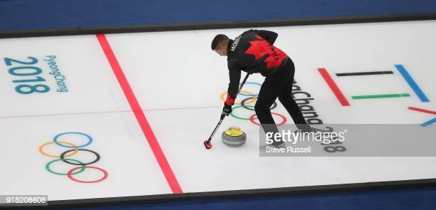 GANGNEUNG Pyeongchang FEBRUARY 6 Canadian Mixed Doubles curling team of Kaitlyn Lawes and John Morris practice at the Gangneung Curling Centre at the...