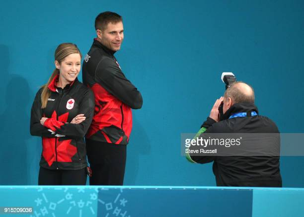 GANGNEUNG Pyeongchang FEBRUARY 6 Canadian Mixed Doubles curling team of Kaitlyn Lawes and John Morris pose for a photo before practice at the...