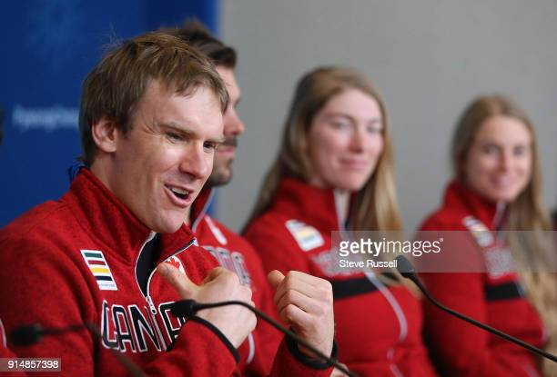 ALPENSIA Pyeongchang FEBRUARY 6 Cross Country skier Devon Kershaw speaks during a Canadian team press conference at the Main Press Centre at the 2018...