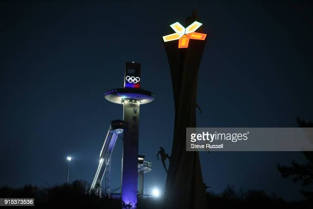 ALPENSIA Pyeongchang FEBRUARY 7 The jump tower is light up at night during training for Men's ski jumping off of the Normal Hill at the Alpensia Ski...