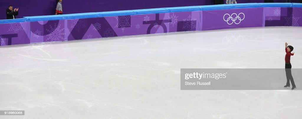 GANGNEUNG, Pyeongchang- FEBRUARY 8 - Brian Orser applauds his skater Junhwan Cha of Korea in the Men's single skating program in PyeongChang 2018 Winter Olympics Figure Skating team event at the Gangneung Ice Arena at the 2018 Pyeongchang Winter Olympics in Gangneung in Pyeongchang in South Korea. February 8, 2018.